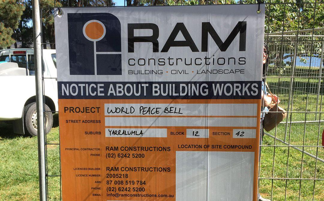 RAM Constructions sign at Nara Peace Park Canberra