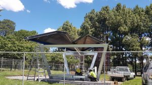 Construction of the pavilion to house the Canberra Peace Bell December 2017