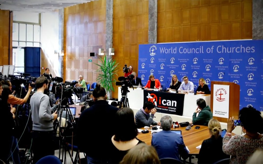 Photo of the announcement of ICAN receiving the Nobel Peace Prize