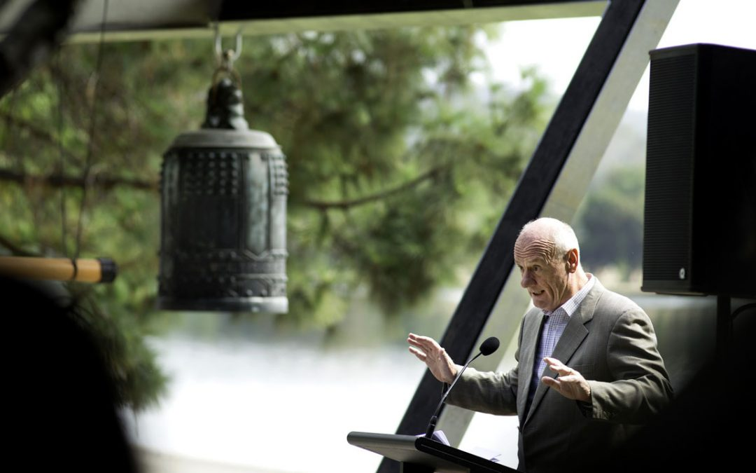 Rev Tim Costello launching the Canberra Rotary Peace Bell on 23 February 2018